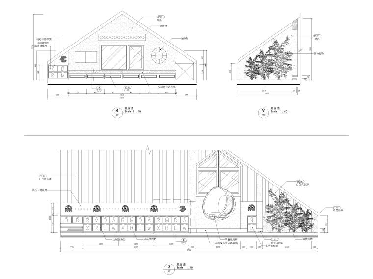 [沈阳]350㎡三层三居别墅样板间装修施工图-三层立面图