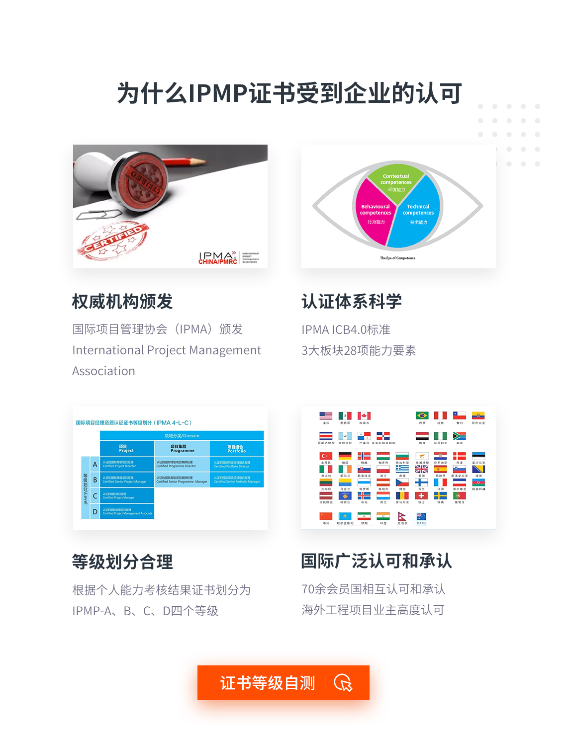 为什么IPMP证书受到企业认可?IPMP认证证书由权威机构国际项目管理协会(IPMA)颁发;IPMP认证有着科学科学的体系,遵照IPMA ICB4.0标准,共有3大能力板块28项能力要素;IPMP认证等级划分合理,根据个人能力考核结果证书划分为IPMP-A、B、C、D四个等级,受到全球70余会员国相互认可和承认,海外项目业主高度认可。