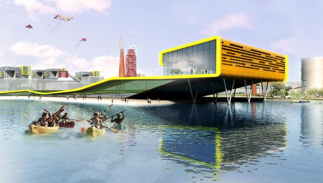 [杭州]滨水田园农业创业休闲小镇概念设计-工业区标志建筑