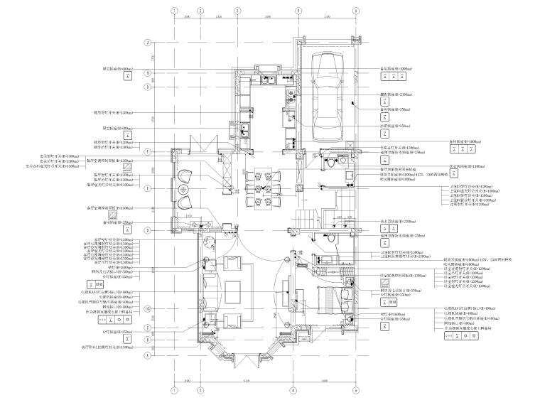 [沈阳]350㎡三层三居别墅样板间装修施工图-一层开关插座功能条件图