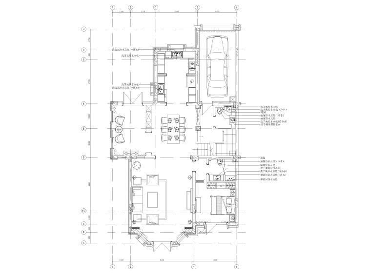 [沈阳]350㎡三层三居别墅样板间装修施工图-一层排水定位图