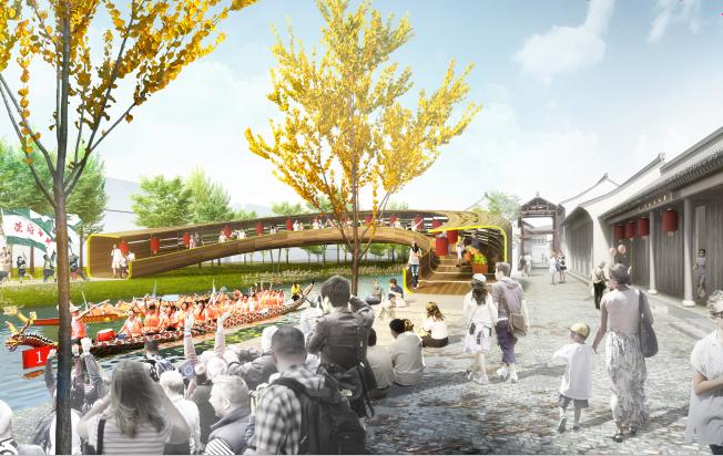 [杭州]滨水田园农业创业休闲小镇概念设计-古镇效果图