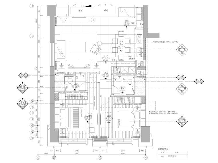 [天津]85㎡现代二居室家装样板间装修施工图-平面布置图