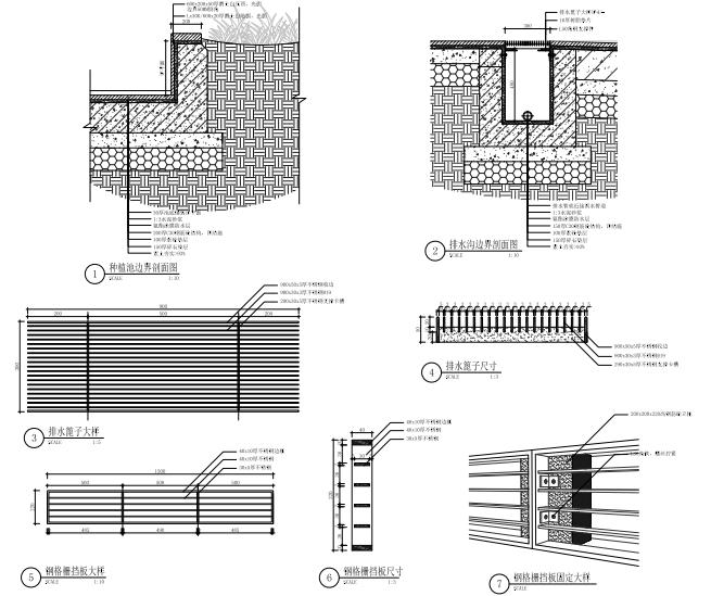 [江苏]现代公园式居住区园建施工图+实景-波浪水池节点大样