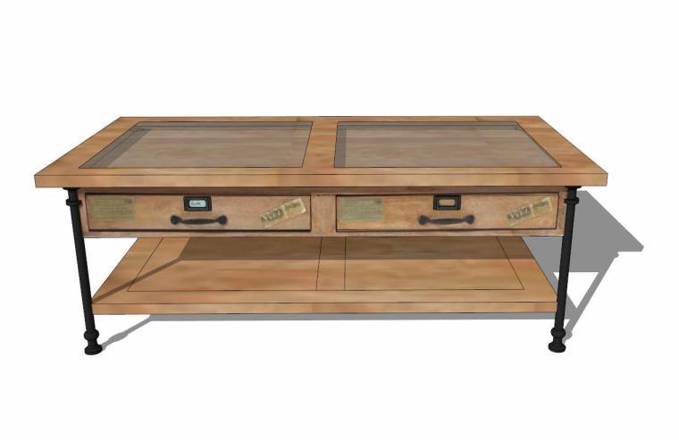 34个工业风格室内茶几+桌模型设计 (7)
