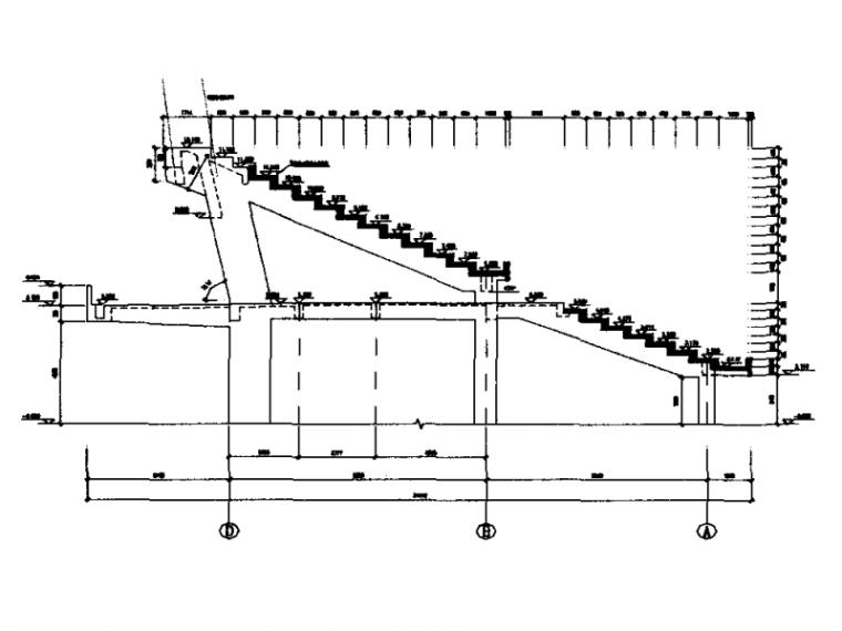 某体育公园结构设计要点-看台结构剖面图