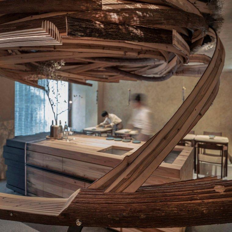 """台北雪松木板""""漩涡""""餐厅室内实景图3"""