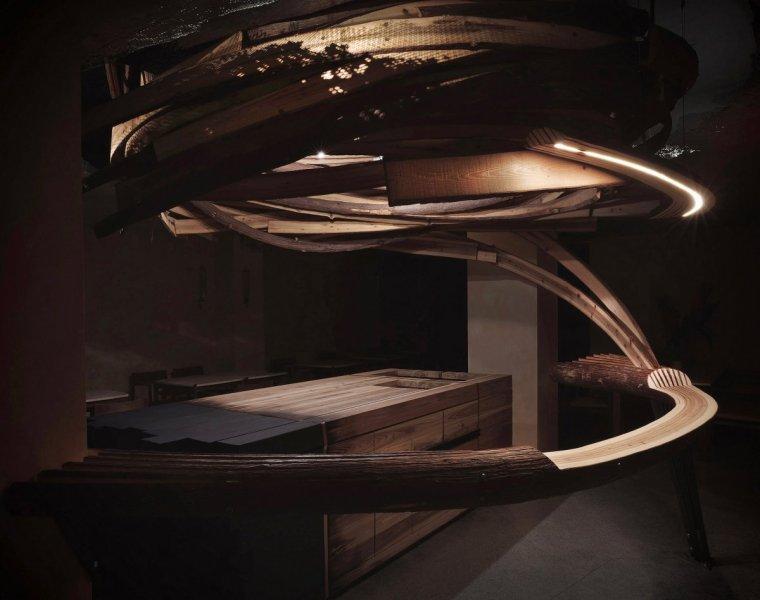 """台北雪松木板""""漩涡""""餐厅室内实景图6"""