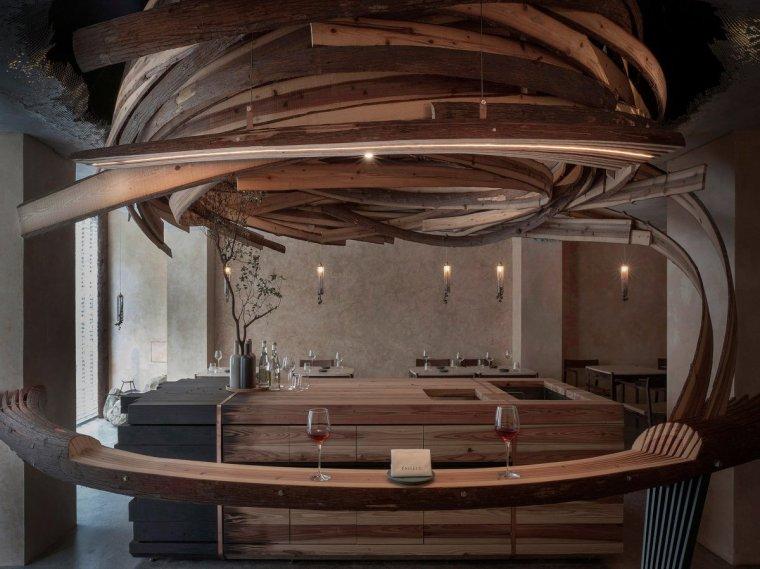 """台北雪松木板""""漩涡""""餐厅室内实景图4"""