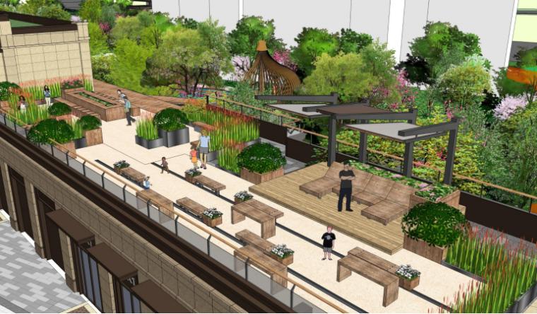 [南京]滨水高档住宅小区景观方案文本+SU-商业屋顶花园效果图