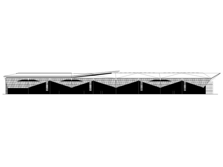 [浙江]汽车试驾体验场展示中心建筑施工图纸-立面图1