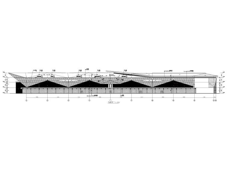 [浙江]汽车试驾体验场展示中心建筑施工图纸-立面图2