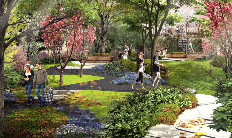 [南京]滨水高档住宅小区景观方案文本+SU-静谧花园效果图
