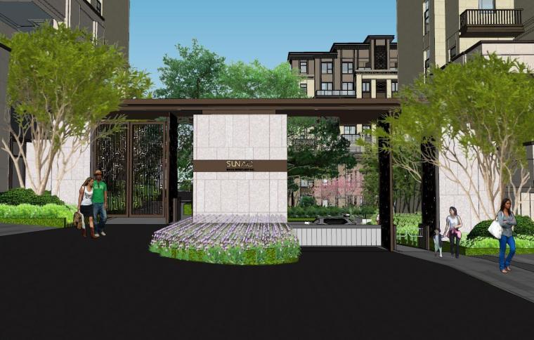 [重庆]新中式风格住宅次入口景观模型设计-新中式风格住宅次入口景观模型设计 (1)