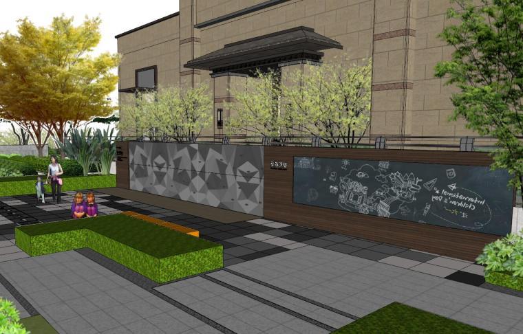 [重庆]新中式风格住宅次入口景观模型设计-新中式风格住宅次入口景观模型设计 (2)