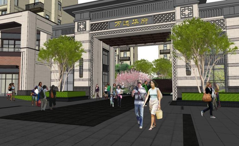 [重庆]新中式风格住宅次入口景观模型设计-新中式风格住宅次入口景观模型设计 (4)