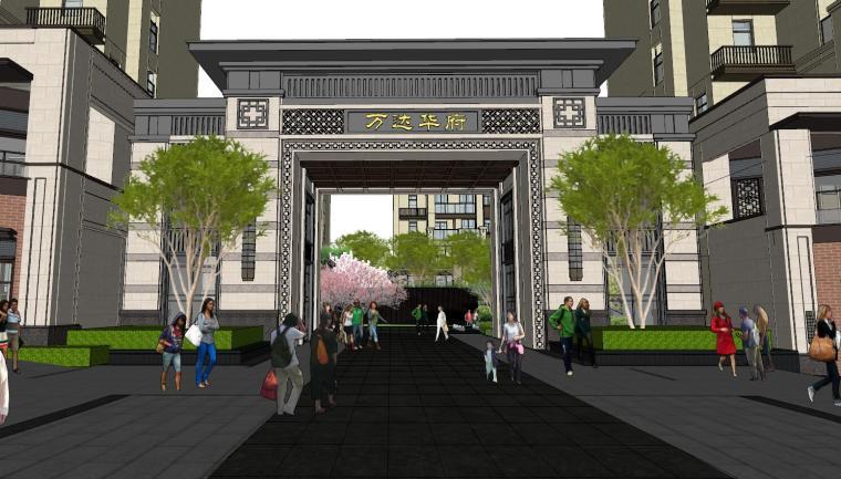 [重庆]新中式风格住宅次入口景观模型设计-新中式风格住宅次入口景观模型设计 (3)