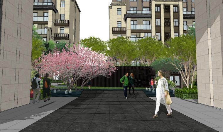 [重庆]新中式风格住宅次入口景观模型设计-新中式风格住宅次入口景观模型设计 (5)