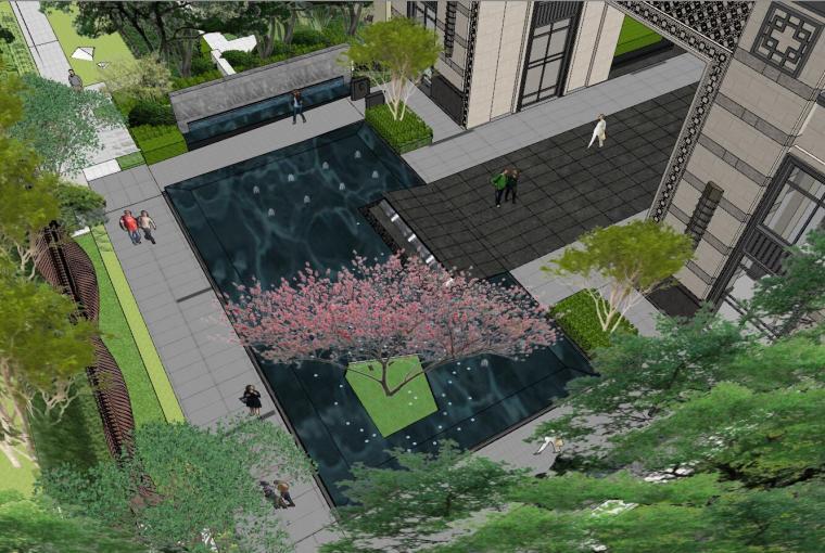 [重庆]新中式风格住宅次入口景观模型设计-新中式风格住宅次入口景观模型设计 (8)