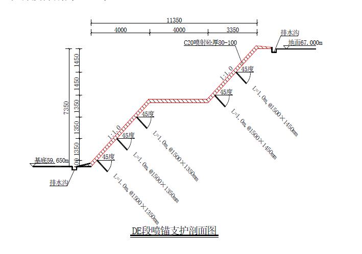 深基坑专项安全施工方案(专家论证图文)-喷锚支护剖面图