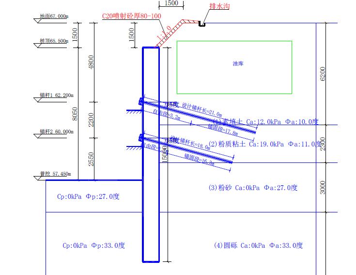 深基坑专项安全施工方案(专家论证图文)-基坑支护剖面图