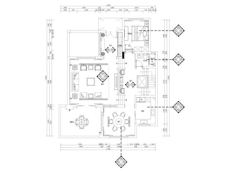 600㎡新中式三层四居别墅装修施工图+3D模型