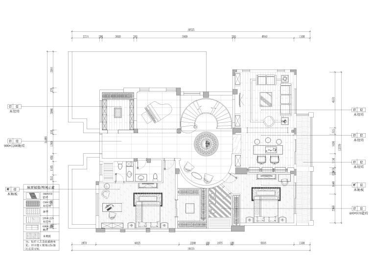 [成都]圣安德鲁二层五居别墅施工图+3D模型-一层地面铺装图