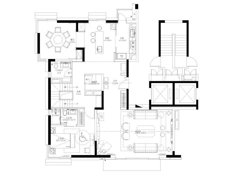 [上海]翡翠江湾新中式三层四居室别墅施工图-一层平面布置图