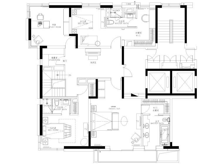 [上海]翡翠江湾新中式三层四居室别墅施工图-二层平面布置图