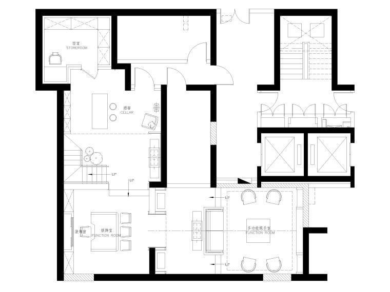 [上海]翡翠江湾新中式三层四居室别墅施工图-负一层平面布置图