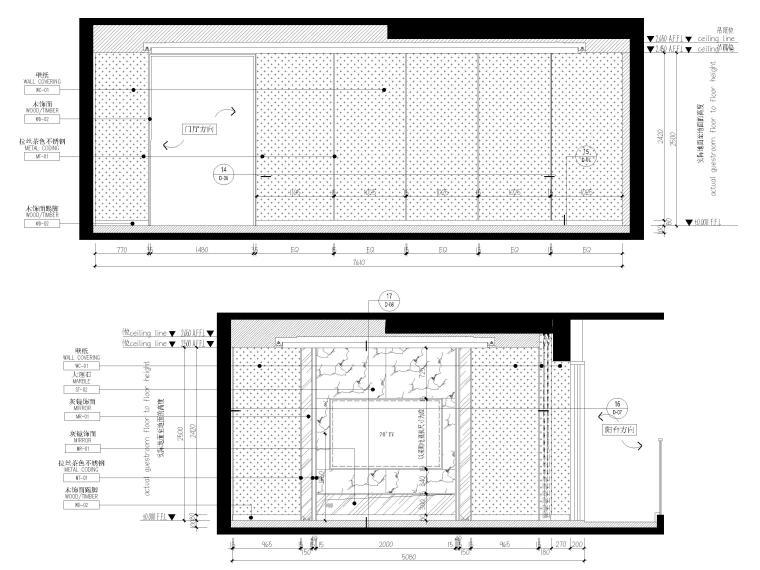 [上海]翡翠江湾新中式三层四居室别墅施工图-客厅立面图