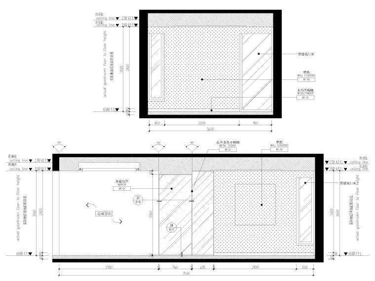 [上海]翡翠江湾新中式三层四居室别墅施工图-餐厅、西厨立面图