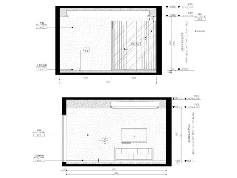 [上海]翡翠江湾新中式三层四居室别墅施工图-老人房立面图