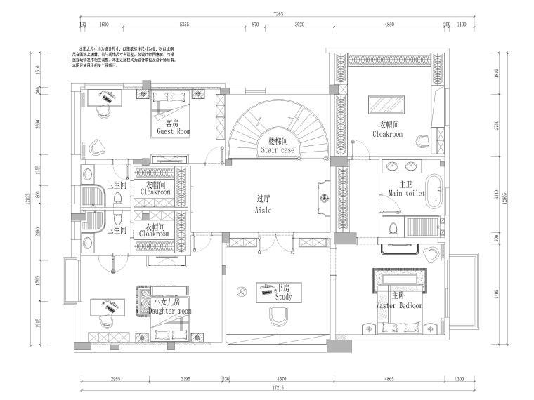 圣安德鲁二层五居别墅施工图+3D模型