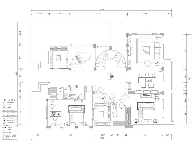 [成都]圣安德鲁二层五居别墅施工图+3D模型-一层插座定位示意图