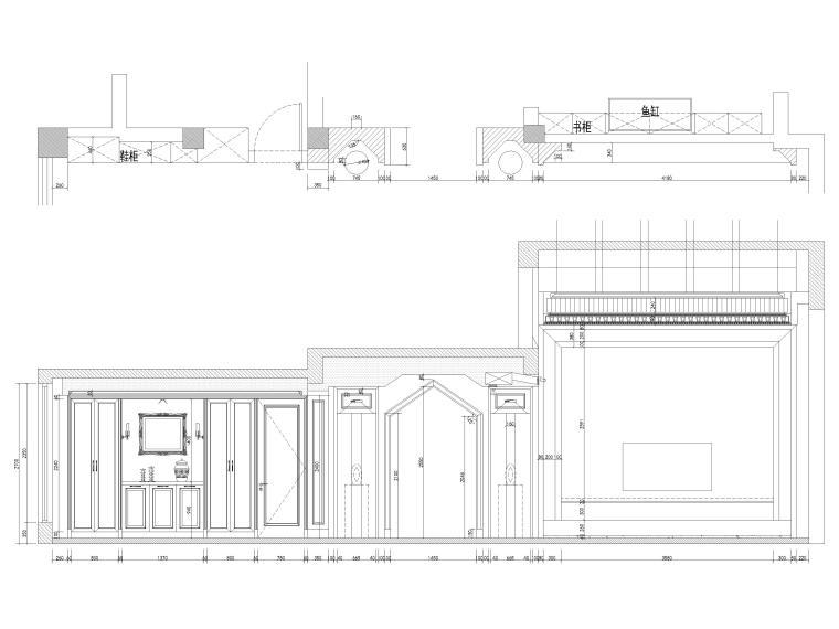 [南京]200㎡三居室混搭风别墅施工图+3D模型-客厅及餐厅东立面图