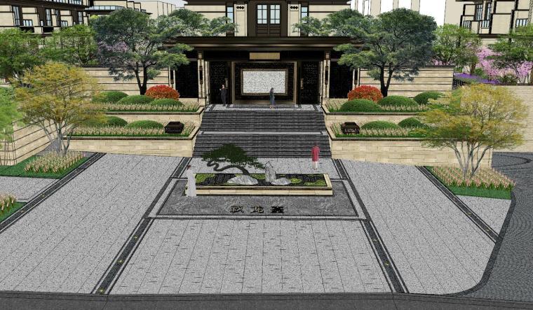新中式风格玖龙台别墅景观模型设计 (1)