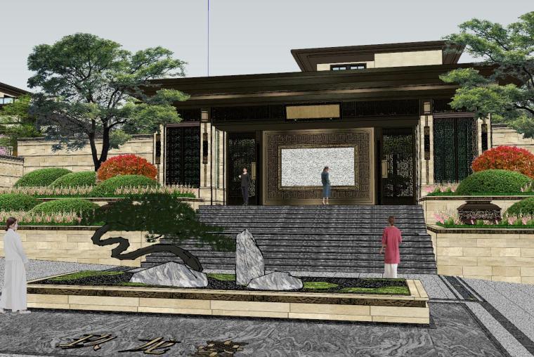 新中式风格玖龙台别墅景观模型设计 (2)