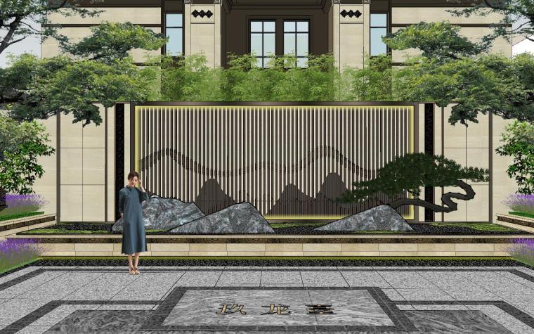 新中式风格玖龙台别墅景观模型设计 (3)