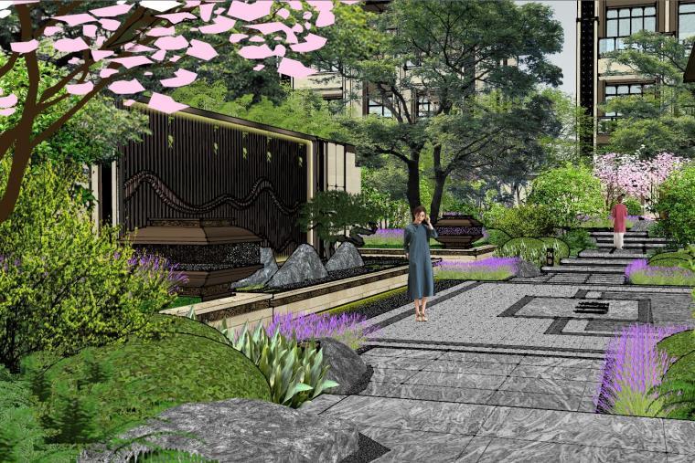 新中式风格玖龙台别墅景观模型设计 (4)