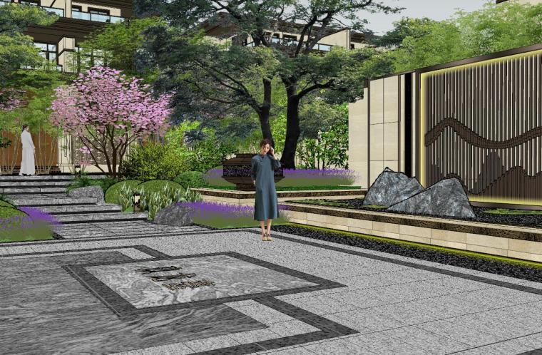 新中式风格玖龙台别墅景观模型设计 (5)