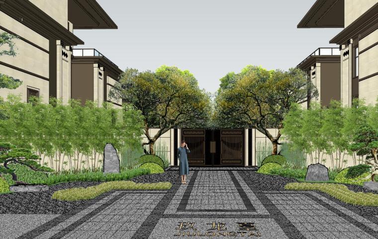 新中式风格玖龙台别墅景观模型设计 (6)