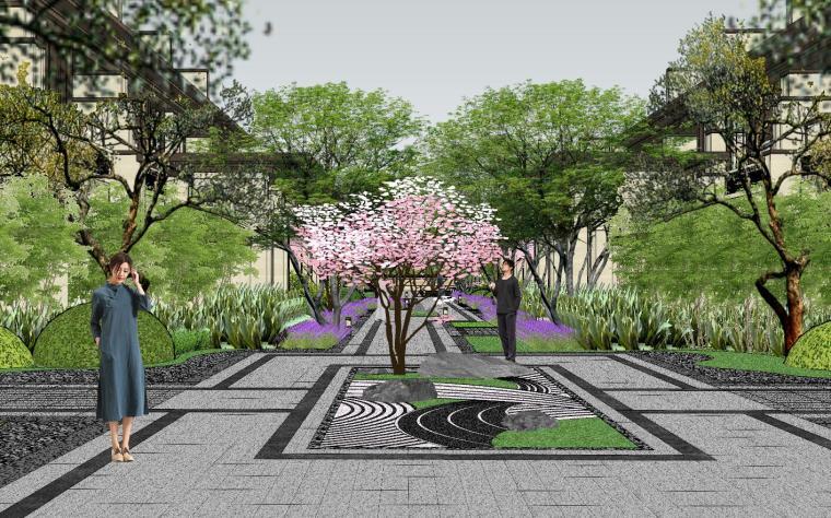 新中式风格玖龙台别墅景观模型设计 (10)