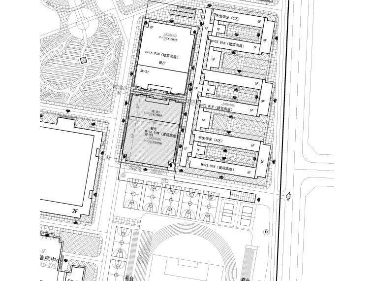 [福建]高中三层框架结构食堂建筑项目施工图-总平图