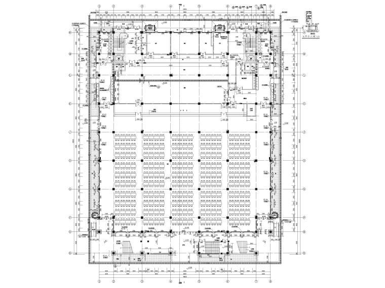 [福建]高中三层框架结构食堂建筑项目施工图-一层平面图