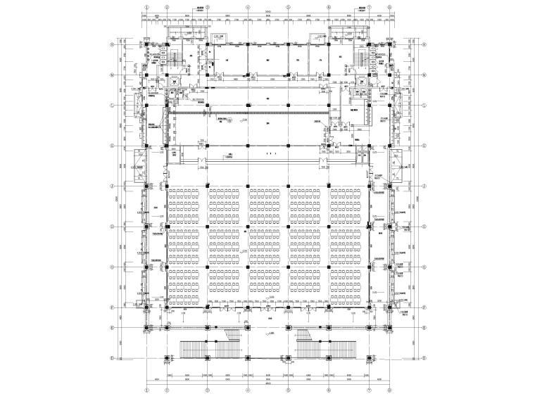 [福建]高中三层框架结构食堂建筑项目施工图-二层平面图