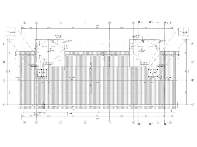 [福建]高中三层框架结构食堂建筑项目施工图-屋顶层平面图