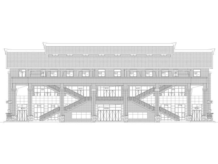[福建]高中三层框架结构食堂建筑项目施工图-食堂立面图