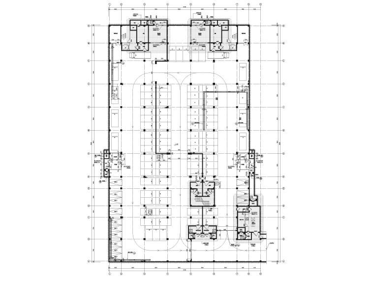 [福建]高中三层框架结构食堂建筑项目施工图-负一层平面图