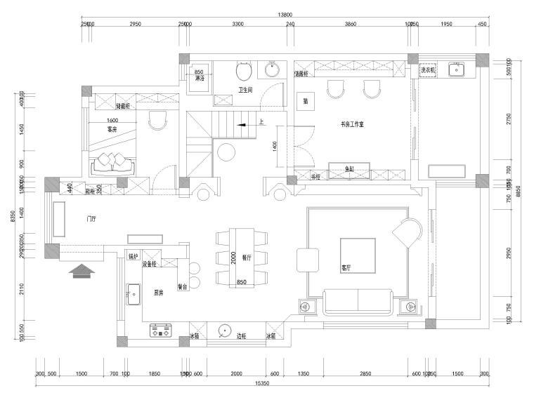 [南京]200㎡三居室混搭风别墅施工图+3D模型-一层平面布置图